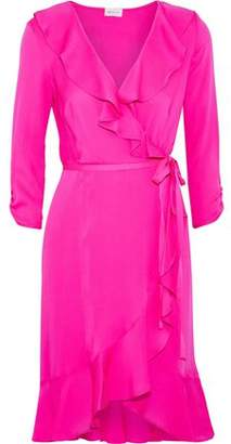 Milly Audrey Ruffled Neon Silk-Blend Wrap Dress