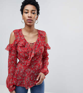New Look Tall frill ruffle sleeve top red pattern