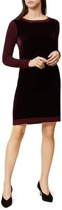 Hobbs London Benita Velvet-Inset Sweater Dress