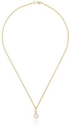 Loren Stewart yellow gold pearl drop and diamond necklace