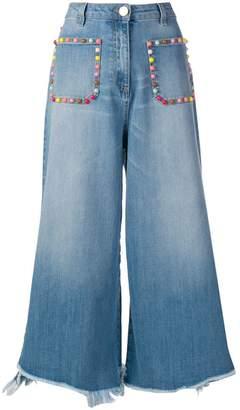 Elisabetta Franchi cropped wide-leg jeans