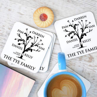 A Type Of Design Personalised 'Family Tree' Coaster Set