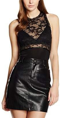 Pieces Women's PCSILKE BODY STRING Bodysuit, Black, (Manufacturer size: Medium)
