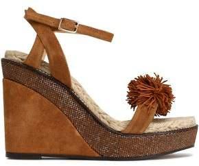 Castaner Pompom-Embellished Suede Wedge Sandals
