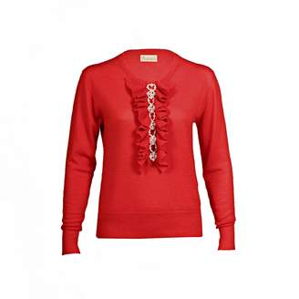 Asneh - Red Grace Cashmere Sweater with Pearl Embellishment
