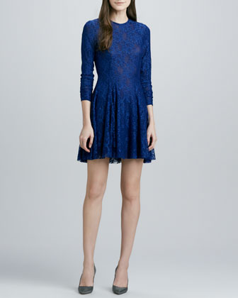 Torn By Ronny Kobo Isabel Swingy-Skirt Lace Dress