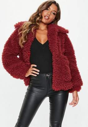 Missguided Tall Red Boxy Shaggy Borg Teddy Jacket, Red