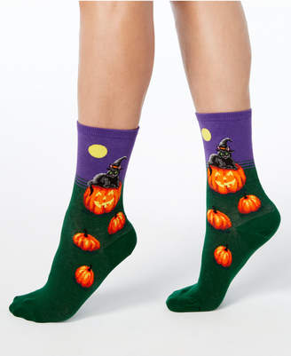 Hot Sox Women's Halloween Cat Witch Socks