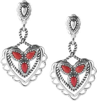 American West Choice of Color Heart Dangle Earrings