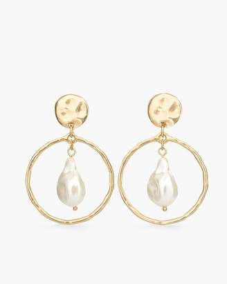 Chico's Chicos Faux-Pearl Clip-On Hoop Earrings