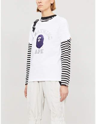 BAPE College glitter logo-print cotton-jersey T-shirt