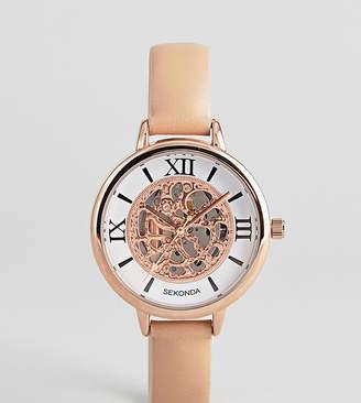 Sekonda Exposed Mechanics Leather Watch In Nude Exclusive To ASOS