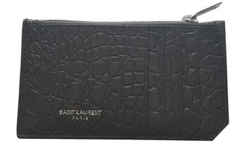 Saint Laurent Zippered Card Holder Crocodile Print Coal
