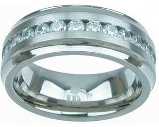Plutus Brands 3 Carat T.G.W. Round-Cut CZ Titanium High-Polish Beveled 8mm Men's Wedding Band