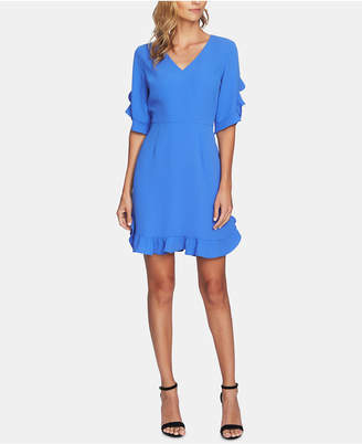 CeCe V-Neck Ruffled Dress