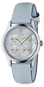 Gucci Women's G-Timeless Contemporary Cats Stainless Steel & Leather Strap Watch