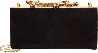 Jimmy Choo Celeste Small Crystal Clasp Suede Clutch