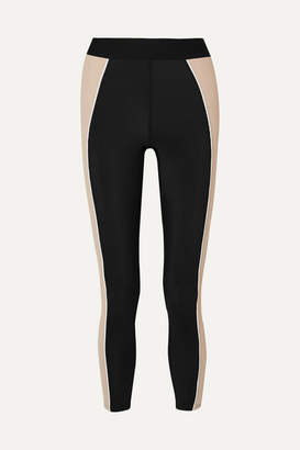 Heroine Sport - Fusion Color-block Ribbed Stretch Leggings - Black