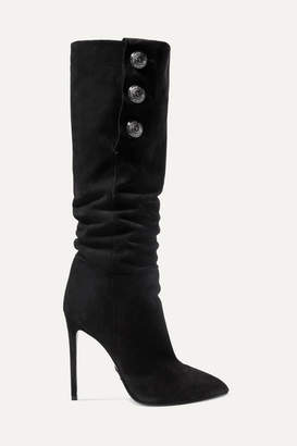 Balmain Jane Button-embellished Suede Knee Boots - Black