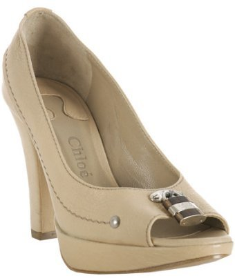 Chloe beige leather 'Paddington' peep toe pumps