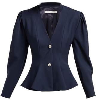 Alessandra Rich Peplum Crystal Button Wool Blazer - Womens - Navy