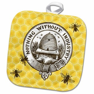 3dRose Pretty Honey Bees around Bee Hive on Honeycomb Background - Pot Holder, 8 by 8-inch