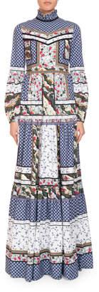 Erdem Cassandra Patchwork Long-Sleeve Prairie Dress