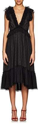 Ulla Johnson Women's Beckett Ruffle-Trimmed Dotted Midi-Dress