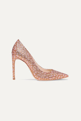 Sophia Webster Rio Leopard-print Glittered Lurex Pumps - Pink