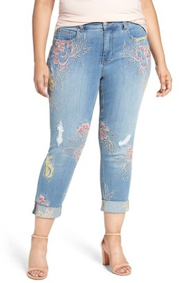 Plus Size Women's Melissa Mccarthy Seven7 Embroidered Skinny Jeans $119 thestylecure.com