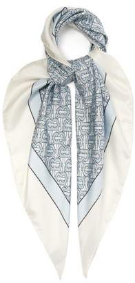 Burberry Monogram Print Silk Faille Scarf - Womens - Blue