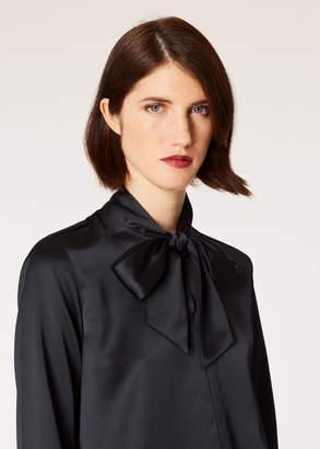 Paul Smith Women's Black Satin Tuxedo Shirt