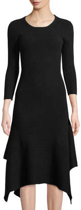 Neiman Marcus Cashmere 3/4-Sleeve Flounce-Hem Sweater Dress