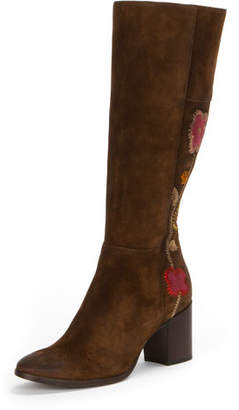 Frye Nova Flower Tall Suede Boot, Brown