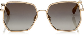 Jimmy Choo ALINE Grey Shaded Gold Mirror Square Sunglasses