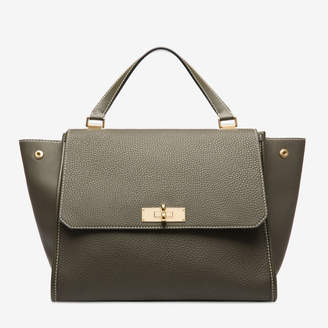Bally Breeze Grey, Women's medium grained calf leather top handle bag in fango