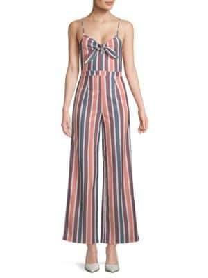 Striped Tie-Front Jumpsuit