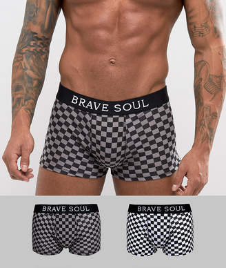 Brave Soul 2 Pack Checkerboard Boxer