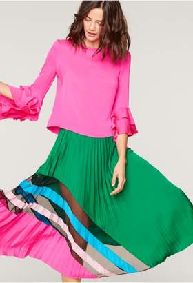 Milly Stretch Silk Pleated Maxi Skirt