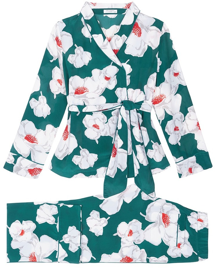EquipmentEquipment 'Odette' floral print wrap top silk pyjama set