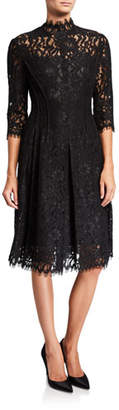 Rickie Freeman For Teri Jon Lace Mock-Neck Half-Sleeve Dress