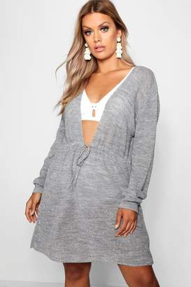 boohoo Plus Metallic Drawstring Beach Dress