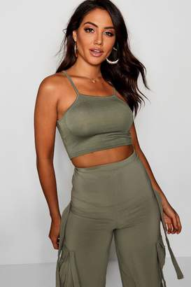 boohoo Basic Spaghetti Strap Super Crop Top