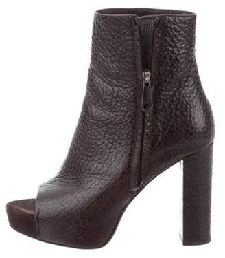 Brunello Cucinelli Textured Leather Ankle Boots Brown Textured Leather Ankle Boots