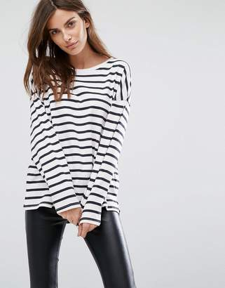 Selected Long Sleeve T-Shirt in Stripe $61 thestylecure.com