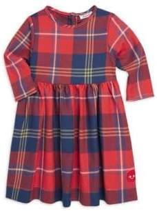 Smiling Button Little Girl's Harvest Plaid Winnie Cotton Dress