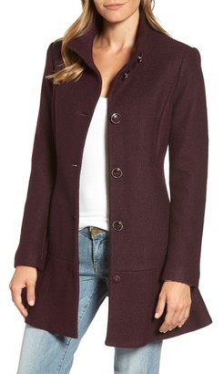 Women's Kensie Single Breasted Ruffle Hem Coat $228 thestylecure.com