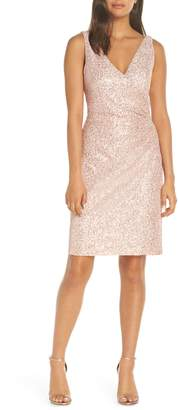 Vince Camuto Sleeveless V-Neck Embellished Cocktail Dress