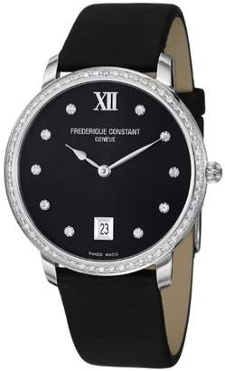 Frederique Constant Women's FC-220B4SD36 Slim Line Satin on Leather Strap Watch