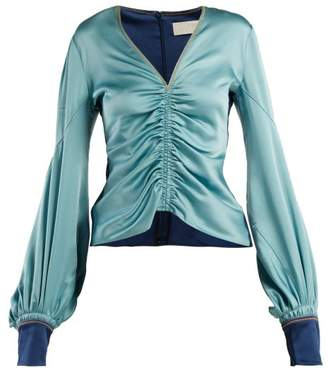 Peter Pilotto Ruched Satin V Neck Blouse - Womens - Blue